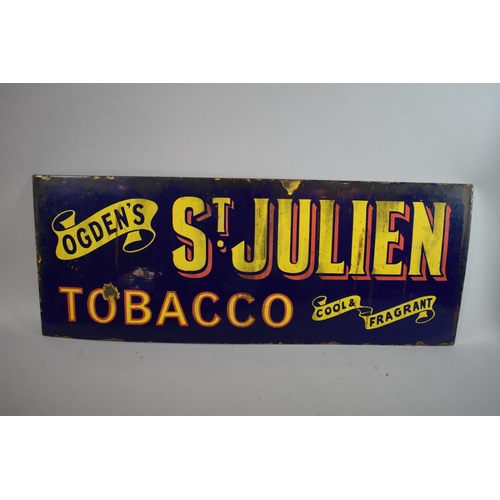 27 - A Vintage Enamelled Advertising Sign for Ogden's St. Julien Tobacco, 81 x 32cms...