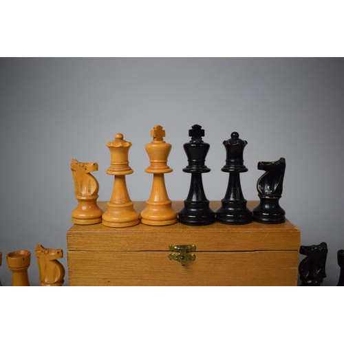 6 - A Good Quality Vintage Wooden Chess Set Complete with Original Box, King 7.9cms High...