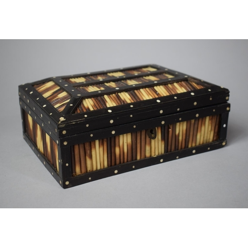 1 - A 19th Century Anglo-Indian Porcupine Quill Box, 21cms Wide...