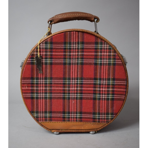 34 - A Circular Tartan and Leather Mounted Travel Case, 24cms High...