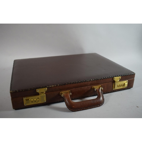 33 - A Leather Combination Lock Briefcase with Fitted Interior, 44cms Wide...