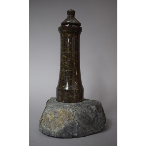 44 - A Serpentine Marble Lighthouse Candlestick Set on Rock Base with Unrelated Lid, 30cms High...
