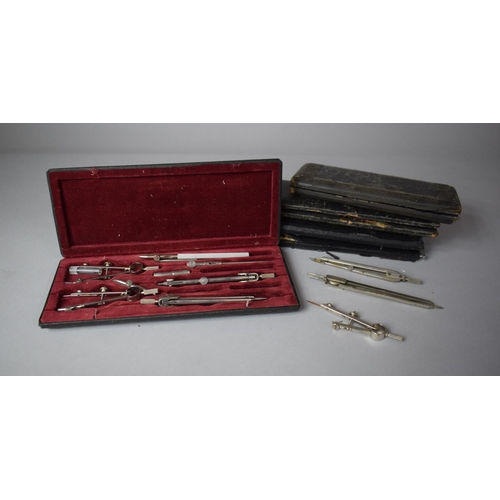 57 - A Collection of Cased Drawing Sets (Some Incomplete)...