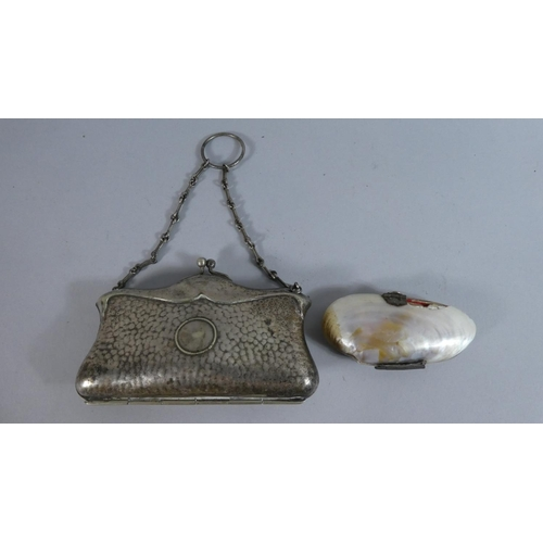 32 - Two Vintage Purses, One Victorian Shell Example (AF) and the Other a Victorian Finger Purse Example,...