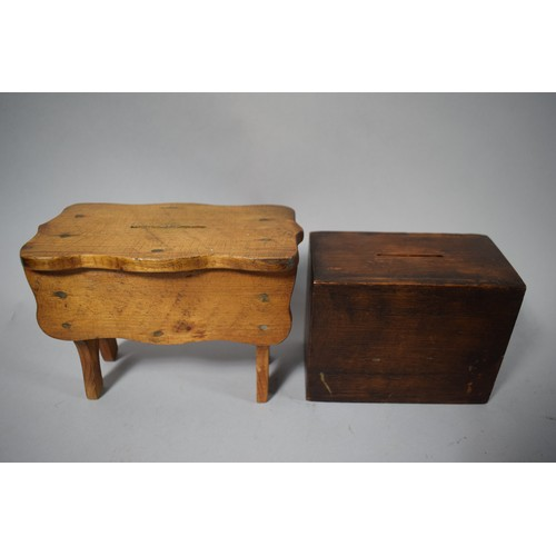13 - Two Vintage Wooden Money Boxes...