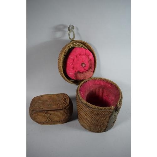 14 - An Oriental Cane Work Tea Pot Carrier and a Woven Lidded Box...