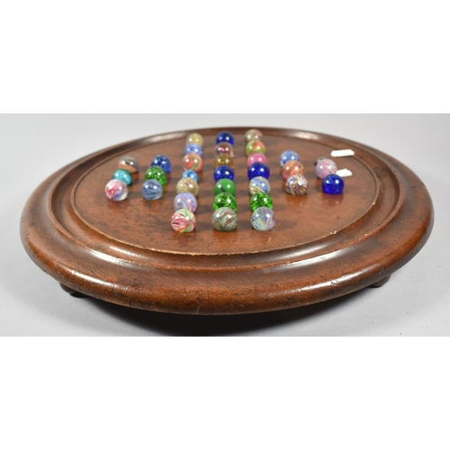 129 - A Large Late 19th/Early 20th Century Mahogany Solitaire Board Complete with Marbles, 41cm diameter...