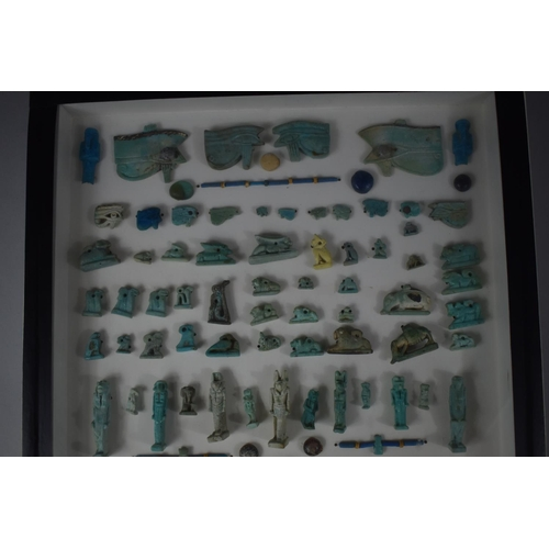 253 - A Cased Collection of Approximately 134 Egyptian Ptolemaic Ancient Faience Beads to Include Some Gla...