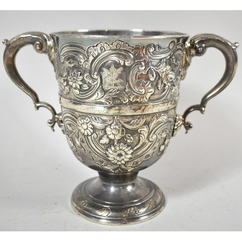 385 - An Impressive and Important Irish Silver Two Handled Loving Mug with Central Band