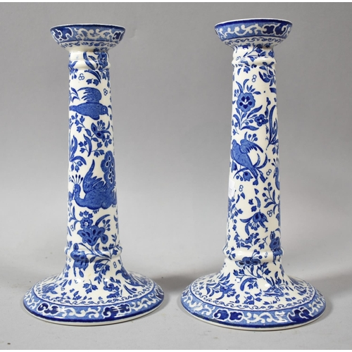 414 - A Pair of Burleigh Ware Blue and White Candlesticks, 21cm high