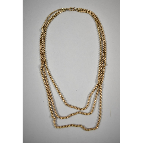 350 - A 9ct Rose Gold Victorian Triple Chain Necklace, 31.4g...