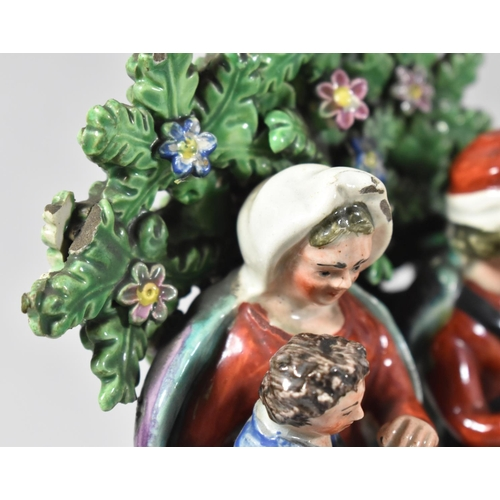 60 - A Pair of Walton Pearlware Pottery Figures, Flight to Egypt and Return From Egypt, Modelled as the H...