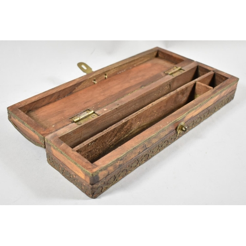 1 - A Far Eastern Brass Mounted Scribe's Pen Box with Three Section Interior, 29cm wide...