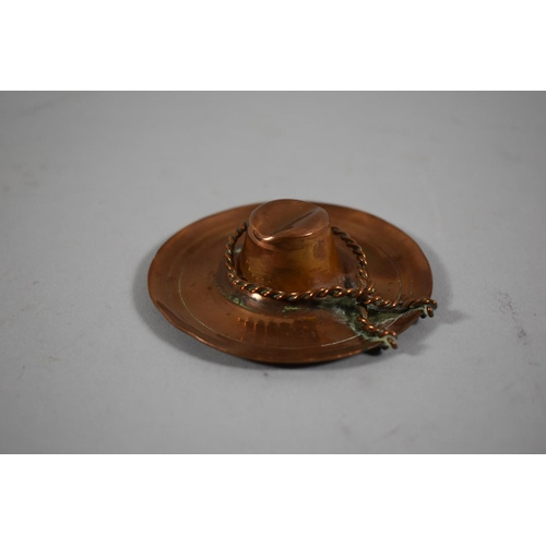 14 - A Small South American Ashtray in the Form of a Gaucho's Hat and Rope, 8cm diameter...