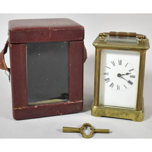 16 - An Early 20th Century Brass Carriage Clock in Original Carrying Case with Key, Movement Working Inte...