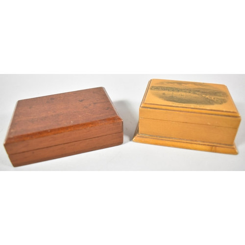 2 - A Mauchline Ware Rectangular Box for 'Ventnor from the Sea' Together with a Small Mahogany Playing C...