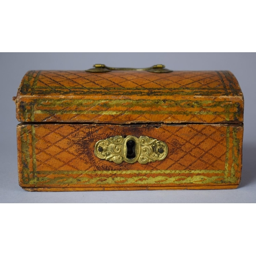 21 - A 19th Century Dome Topped Box in the Form of a Travelling Trunk Containing Bone Alphabetical and Nu...