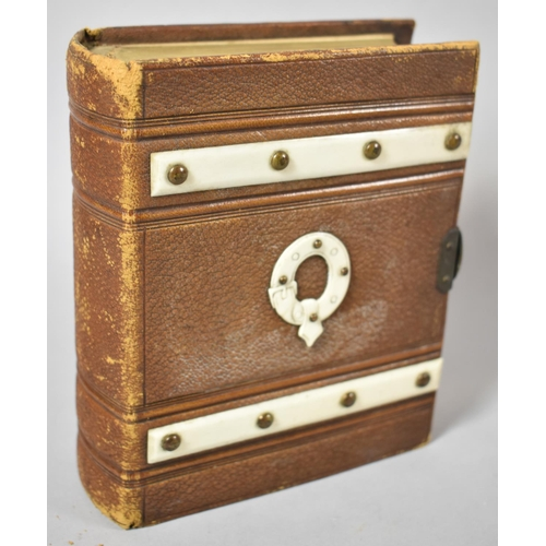 22 - A Good Quality Late Victorian Photo Album Containing One Painted Miniature of Gent in Top Hat Togeth...