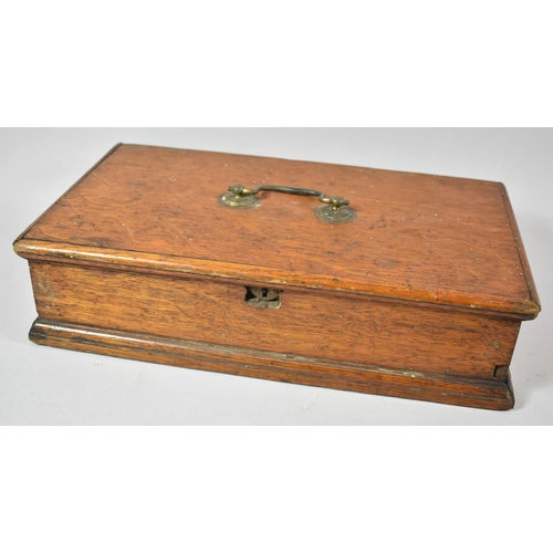 24 - A Late 19th Century Oak Workbox with Carrying Handle and Removable Inner Tray, 39cm wide...