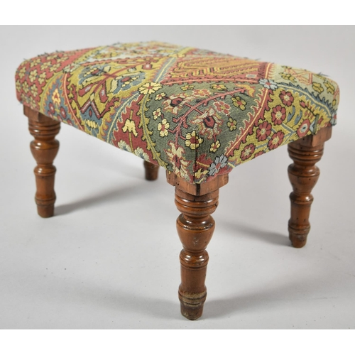 27 - A Late Victorian/Edwardian Small Rectangular Footstool, Has had Worm and has Been Reupholstered, 28c...