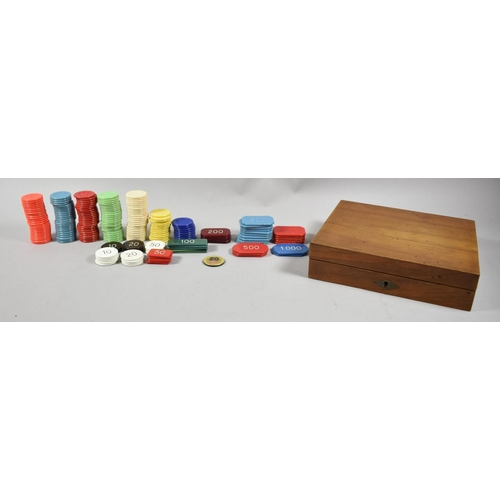 3 - A Mahogany Box Containing Gambling Chips, 21.5cm wide...