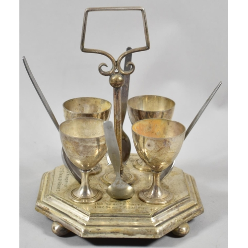31 - An Edwardian Silver Plated Presentation Four Cup Egg Cruet, Gun Drill Challenge Prize in Memory of D...