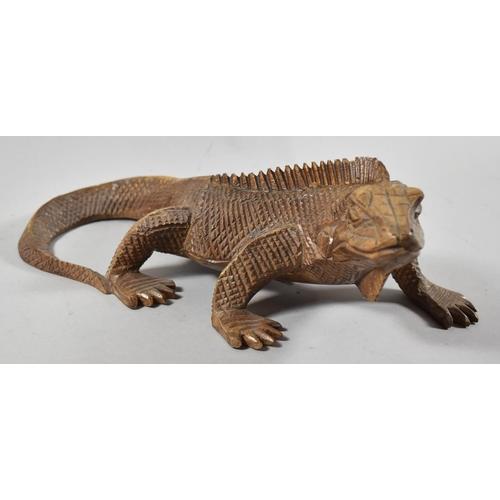 32 - A Nicely Carved Study of Iguana Lizard, 32cm Long...