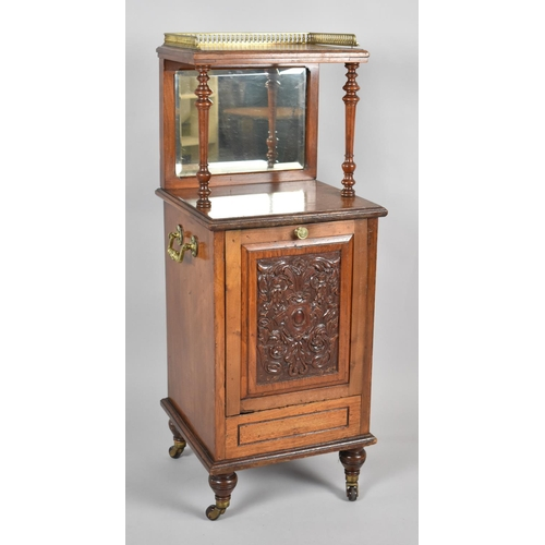 33 - A Late 19th Century Ormolu Galleried Purdonium with Pull Front Having Carved Panel, Mirrored Back an...