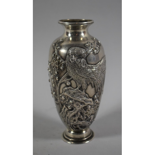35 - A Good Quality Chinese Silver Vase Stamped for Wang Hing Decorated in Relief with Birds on Branch, 1...