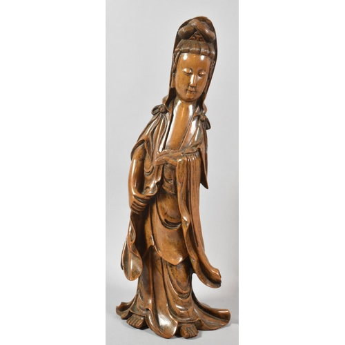 37 - A Good Quality Carved Chinese Figure of Guanyin, 39cm high, Paper Label to Base, 29cm high...