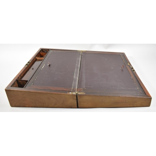 4 - A Late 19th Century Rosewood Writing Slope with Mother of Peal Disk Inlay, Fitted Interior, 40.5cm w...