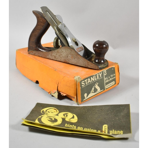 41 - A Stanley Bailey No.3 Plane with Original Cardboard Box and Hints Booklet...