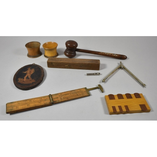 43 - A Collection of Treenware to Include Auctioneers Gavel, Folding Ruler, Pall Mall Whist Marker, Marqu...