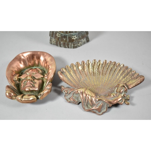 45 - A Lead Filled Brass Crinoline Lady Doorstop, 14cm high Together with a Copper Novelty Ashtray in the...
