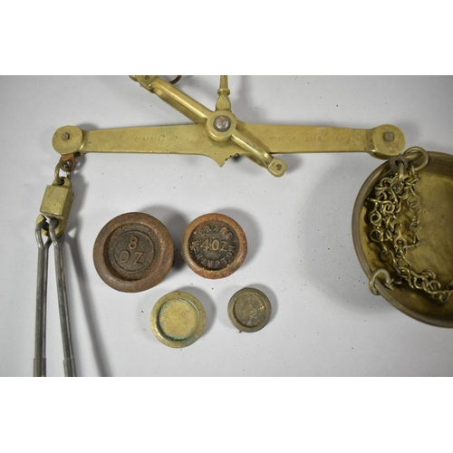 46 - A Late 19th Century Wooden Cased Set of Brass Scales by Daniels, Class C-A 4lbs and Complete with So...