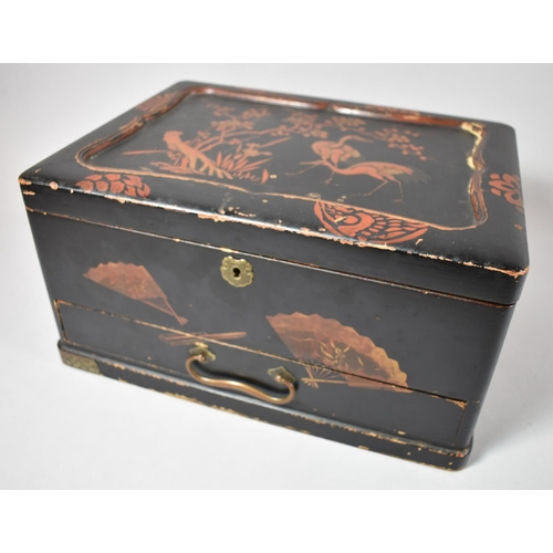 49 - A Chinese Lacquered Work Box with Hinged Lid to Removable Fitted Tray and Base Drawer, Decorated wit...