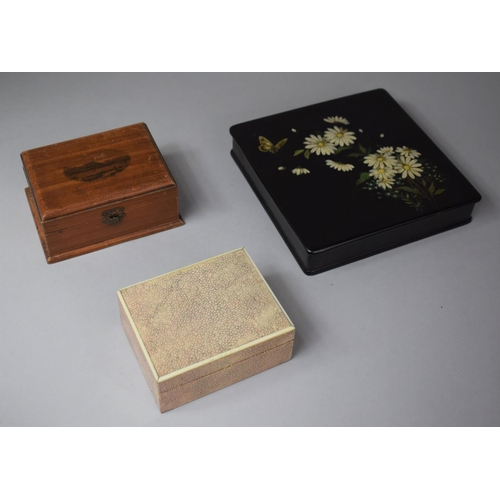 5 - A Shagreen Rectangular Cigarette Box, Oriental Lacquered Box Decorated with Daisies and Butterfly To...