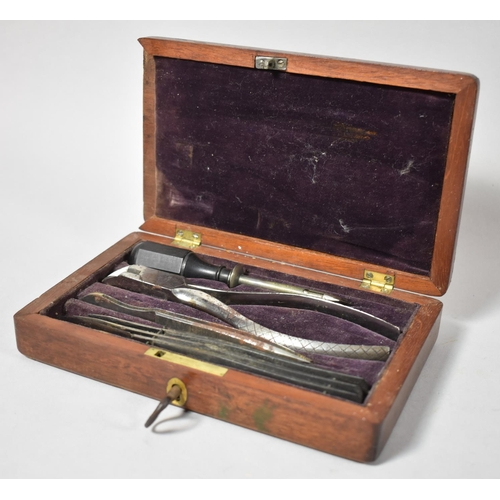 52 - A Late 19th Century Mahogany Cased Set of Medical Instruments, 18.5cm wide...