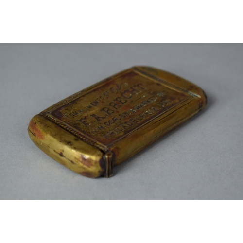 53 - An Edwardian American Brass Vesta Decorated with Ballet Dancer and Inscribed Compliments of FA Brech...