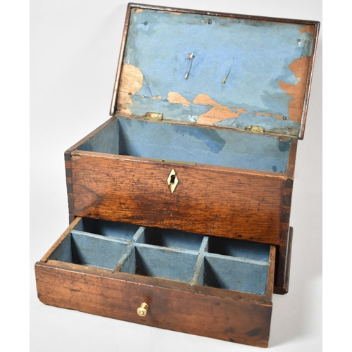 6 - A 19th Century Lift Top Ladies Work or Sewing Box with Base Drawer, Brass Carrying Handle and Ivory ...