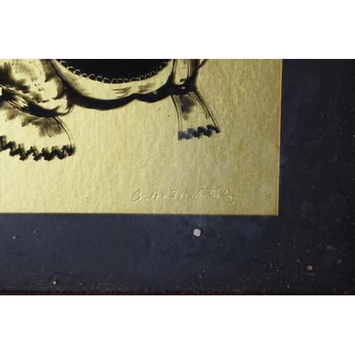 361 - A Gilt Framed Miniature Silhouette Signed G A Silva, 14cm high