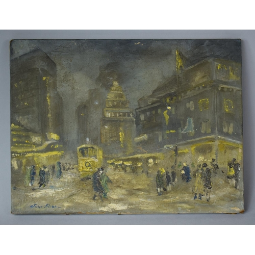 362 - A Mounted Oil on Canvas Depicting City Street Scene, Signed John Sloan (American 1871-1951), 40x30cm...