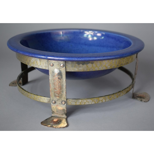 A Silver Plate on Copper Arts and Crafts Dog Bowl with Ceramics Powder Blue Glazed Liner, 25cm Diameter