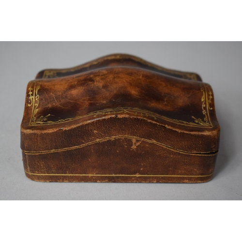 1 - An Unusual Florentine Pressed Pigskin Box with Hinged Shaped Lid Having Gilt Decoration, 10cm wide...
