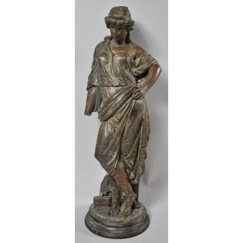 14 - A French Bronzed Spelter Figure of a Classical Lady, Missing Arm and Shaft, 41cm High...
