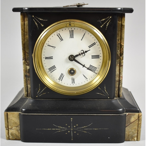 22 - A French Slate and Marble Mantle Clock of Architectural Form, with Key and Pendulum, 20cm high...