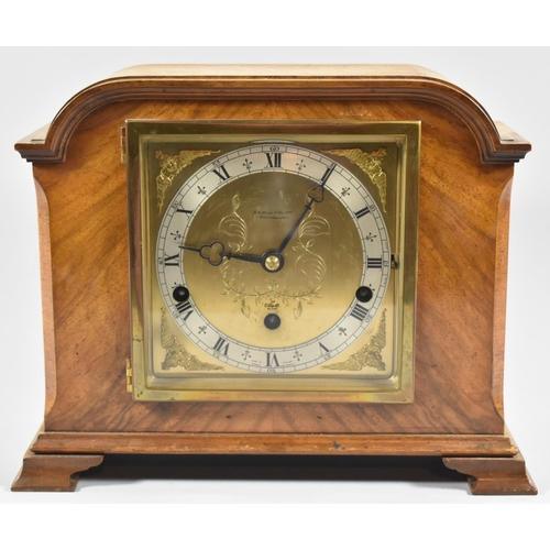 24 - An Edwardian Walnut Cased Westminster Chime Mantle Clock by Elliot, 30cm wide...