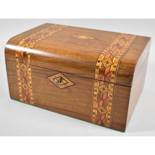 26 - A Late 19th Century Banded Inlay Dome Top Work Box, Missing Inner Tray, 27.5cm wide...
