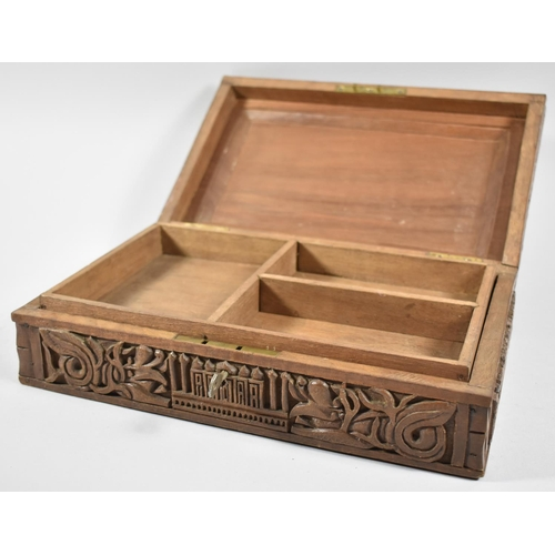 27 - A Late 19th/Early 20th Century Deeply Carved Teak Souvenir Box for the Taj Mahal, India, Hinged Lid ...