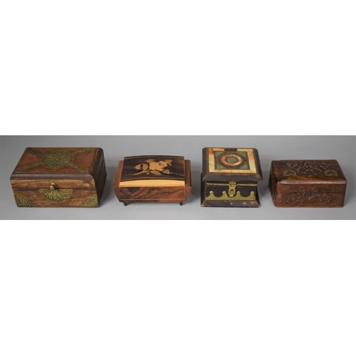 28 - A Collection of Four Various Inlaid and Brass Mounted Continental and Far Eastern Boxes...
